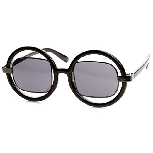 20048ecae3 Image Unavailable. Image not available for. Color  Oversized Round Frame w Metal  Square Tinted Lens Fashion Sunglasses ...