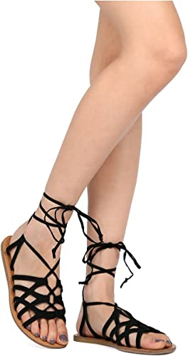 LADIES WOMENS FLAT LACE UP LEG STRAPPY GLADIATOR SUMMER FASHION SANDALS SHOES SZ