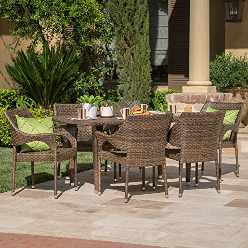del mar patio furniture 7 piece outdoor patio mixed mocha wicker dining set home patio and. Black Bedroom Furniture Sets. Home Design Ideas