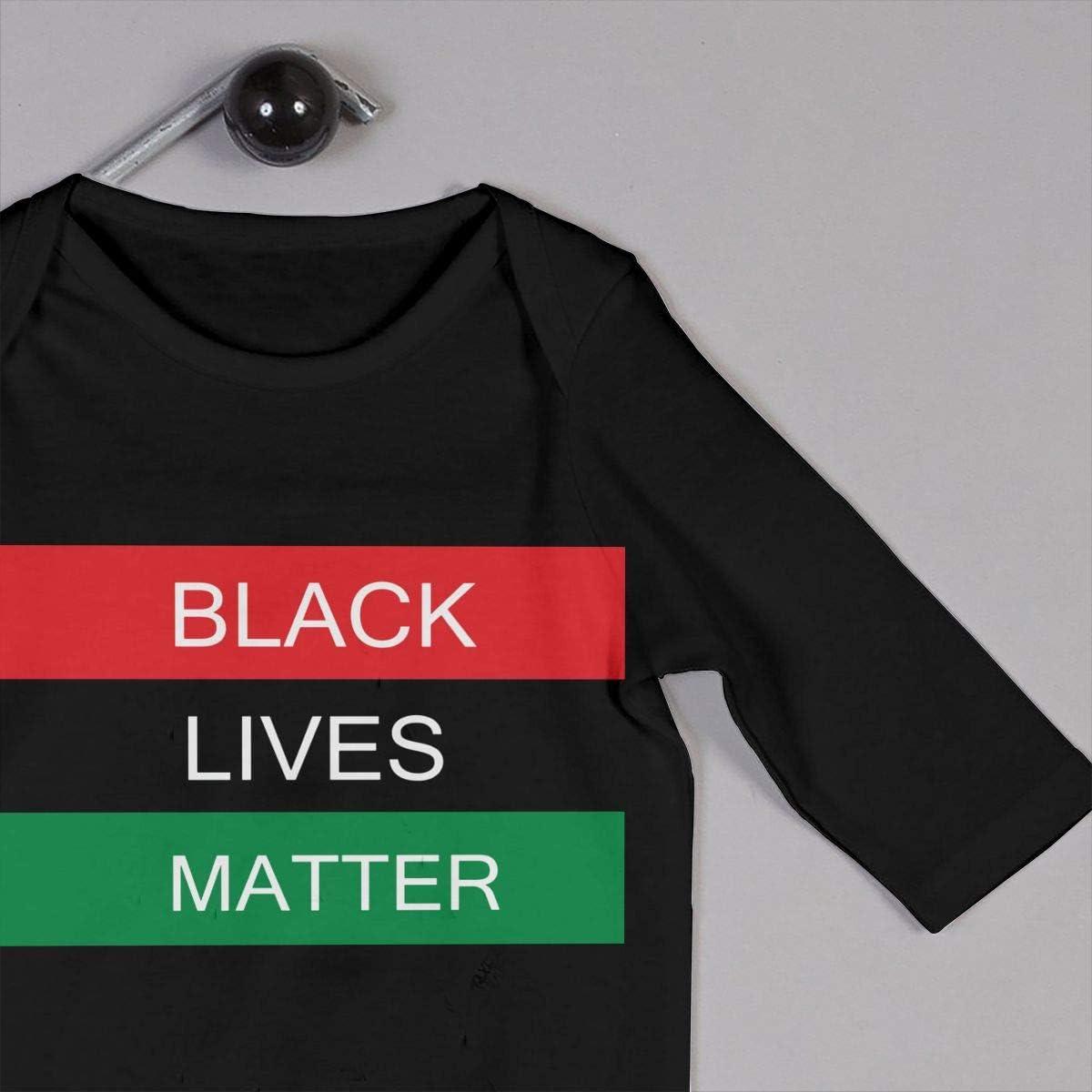 Black Lives Matter Flag Printed Newborn Infant Baby Boy Girl one-Piece Suit Long Sleeve Pajamas Black