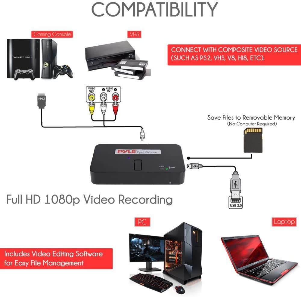 DVD Wii PC Pyle PS3 Audio for USB AV Game Recorder Converter Full HD 1080P Digital Media File Creation System w//HDMI Support Xbox 360 SD Xbox One Capture Card Video Recording System PS4