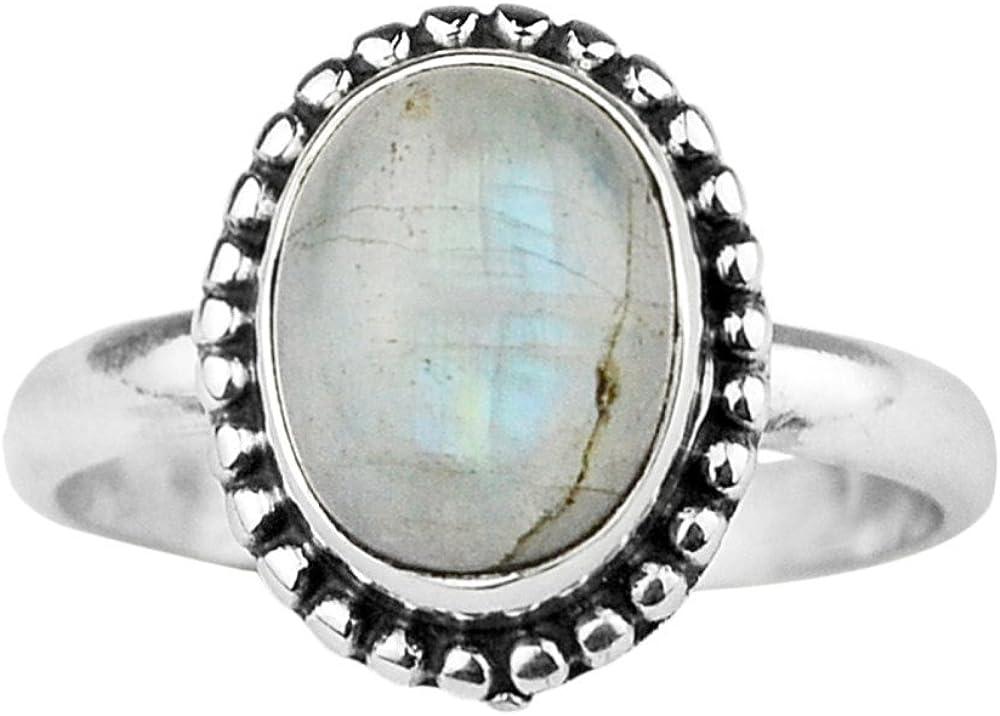 925 Sterling Silver Rainbow moonstone gemstone Ring Size 7 US 3.45 g c