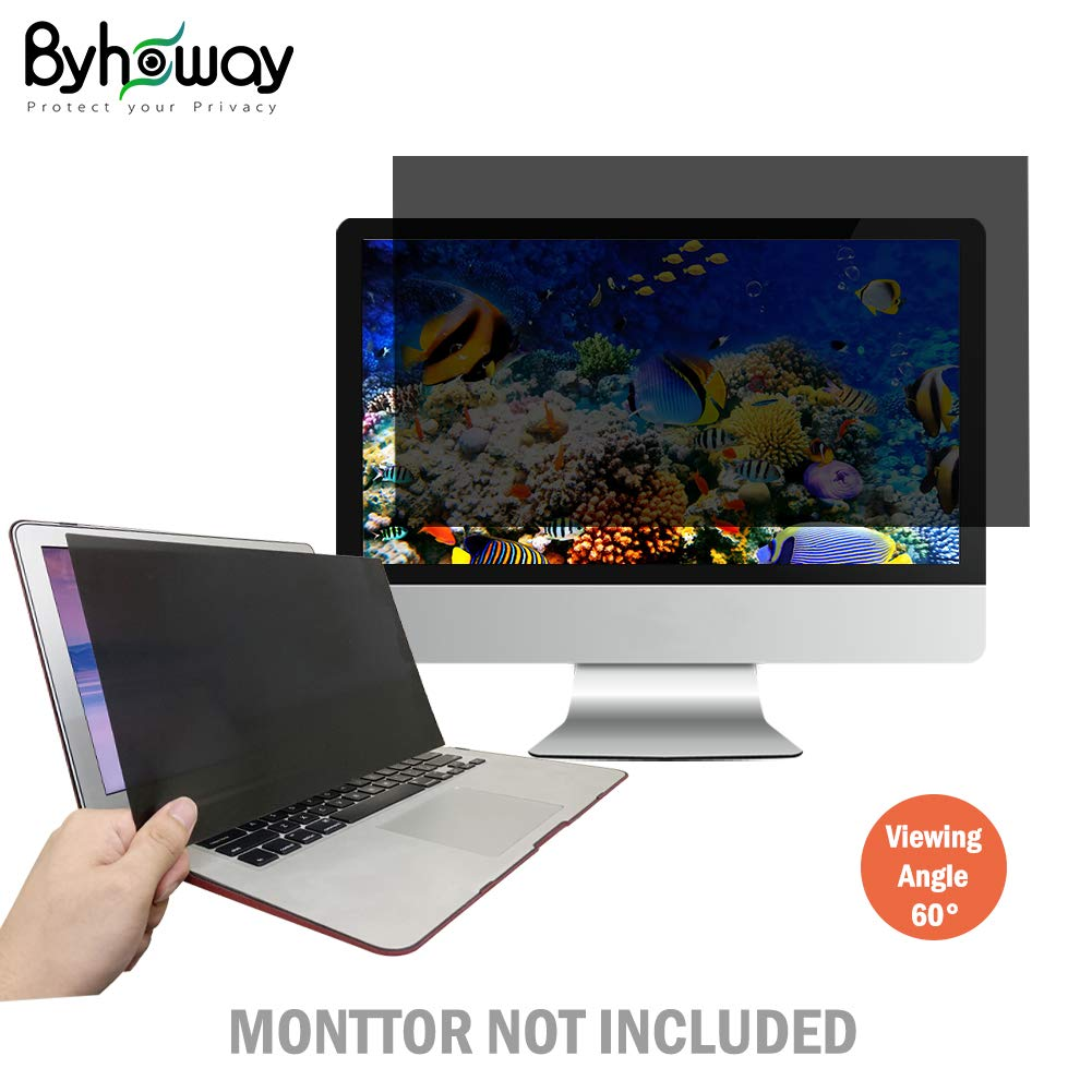 Byhoway 20 inch Laptop Privacy Screen Protector Computer Widescreen Monitor Privacy Filter w/Anti-Glare/Scratch/Fingerprint/Radiation, Black(16:12)