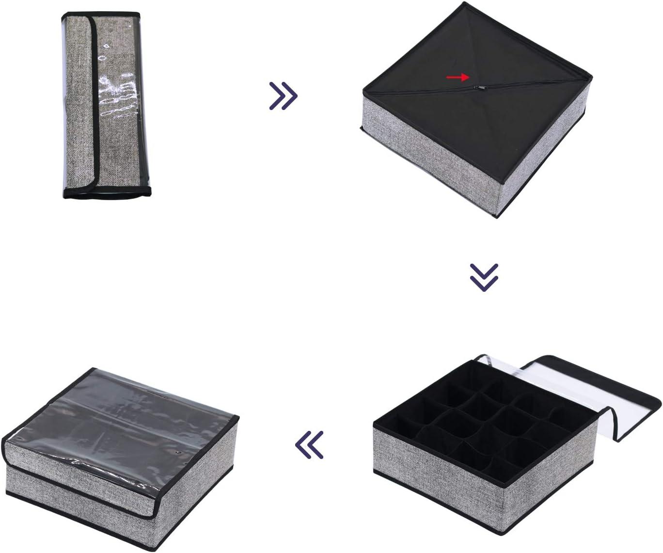 Sujetador homyfort Cajas Plegables Organizadores de Cajones para Almacenamiento y Organizaci/ón de Ropa Interior Bufandas Negro Lino Organizadores de Cajones Tela sin Tejer 7XAS16S5 Calcetines
