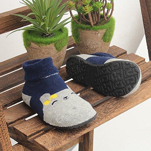 Slipper Socks for Baby Kids Girls Boys Indoor Floor Shoes Home Socks Rubber Bottom Soles Non Skid Non Water Protect Feet (Dark Blue Bear, 7