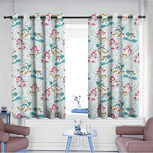HOMEDD Simple Curtains,Kids Snowman Skiing on Hills Winter Cold Nursery Boys Girls Baby Playroom Cartoon,for Bedroom Grommet Drapes,W63x72L Pale Sea Green Pink (Skiing Snowman)