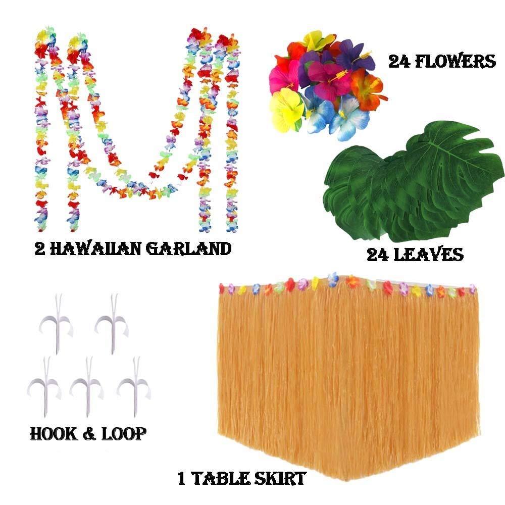 HTFD Hawaiian Party Decoration Set, Tropical Leaves,Hibiscus Flowers,Hawaiian Table Skirt,Hawaiian Garland for Jungle Aloha Luau Tropical Party Decorations