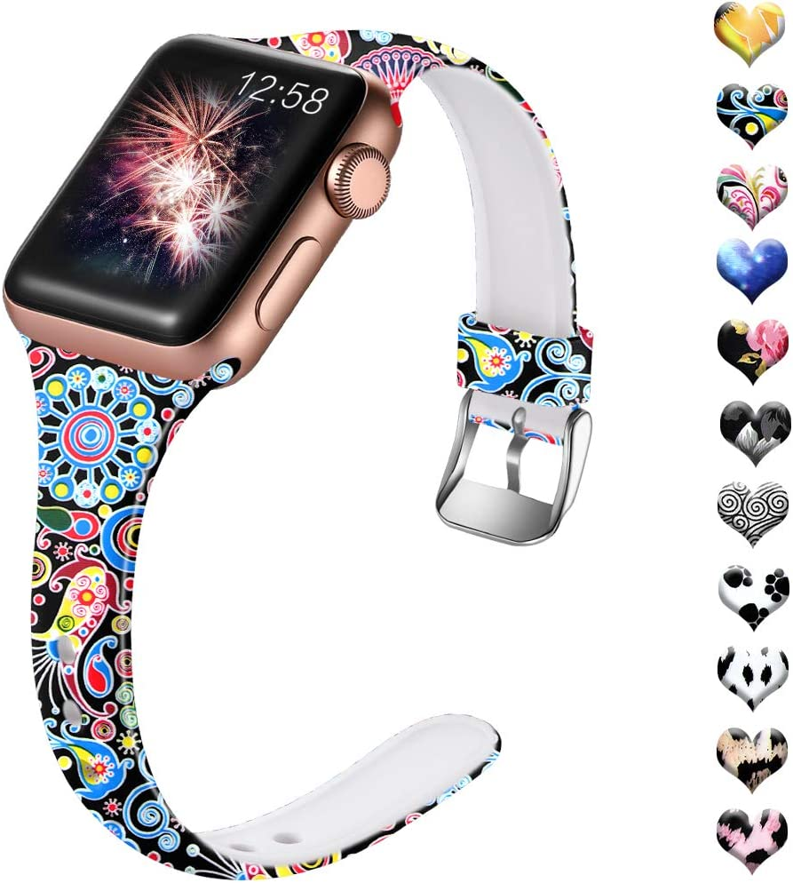 Henva Compatible with iWatch Band 40mm 38mm for Women, Fashion Soft Thin Wristband with Print Pattern for Apple Watch SE Series 6/5, Series 4, Series 3, Series 2, Series 1, Jellyfish Pattern, S/M