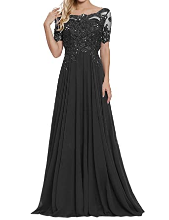 ab237afdfdf7 Women's Short Sleeves Appliques Beaded Chiffon Evening Prom Dress Black US2