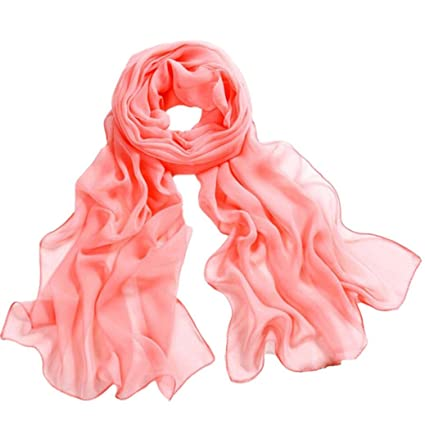 New Women Girls Elegant Classic Plain Chiffon Scarves Soft Neck Shawl Wraps