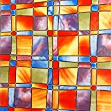 Alkor Sticky Back Self Adhesive Glass Foil Window Privacy Film Mosaic Design Orange and Red - 67.5cm x 1.5m