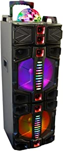 BeFree Sound Dual 12 Inch Subwoofer Bluetooth Portable Party Speaker With LED Lights, USB/SD Input, Fm Radio, Remote Control And Wireless Microphone