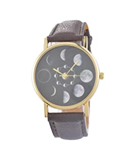 Souarts Womens Brown Artificial Leather No Numbers Moon Dial Quartz Analog Wristwatch