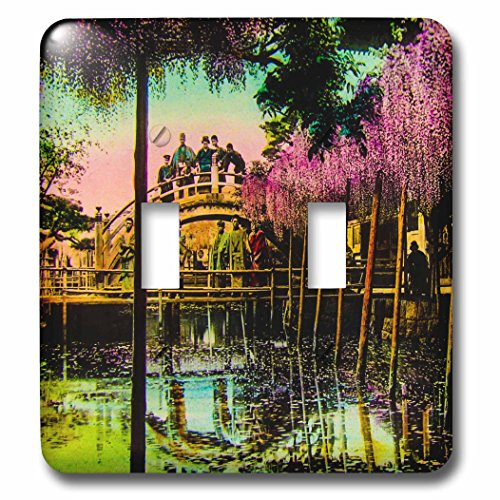 Hand Colored Photograph (Scenes from the Past Magic Lantern - Vintage Drum Bridge Kameido Tokyo Japan Hand Colored Magic Lantern - Light Switch Covers - double toggle switch (lsp_246451_2))