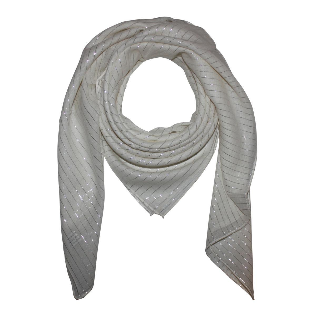 Freak Scene Sciarpa di cotone /° unicolore /° lurex argento /° stoffa quadrata