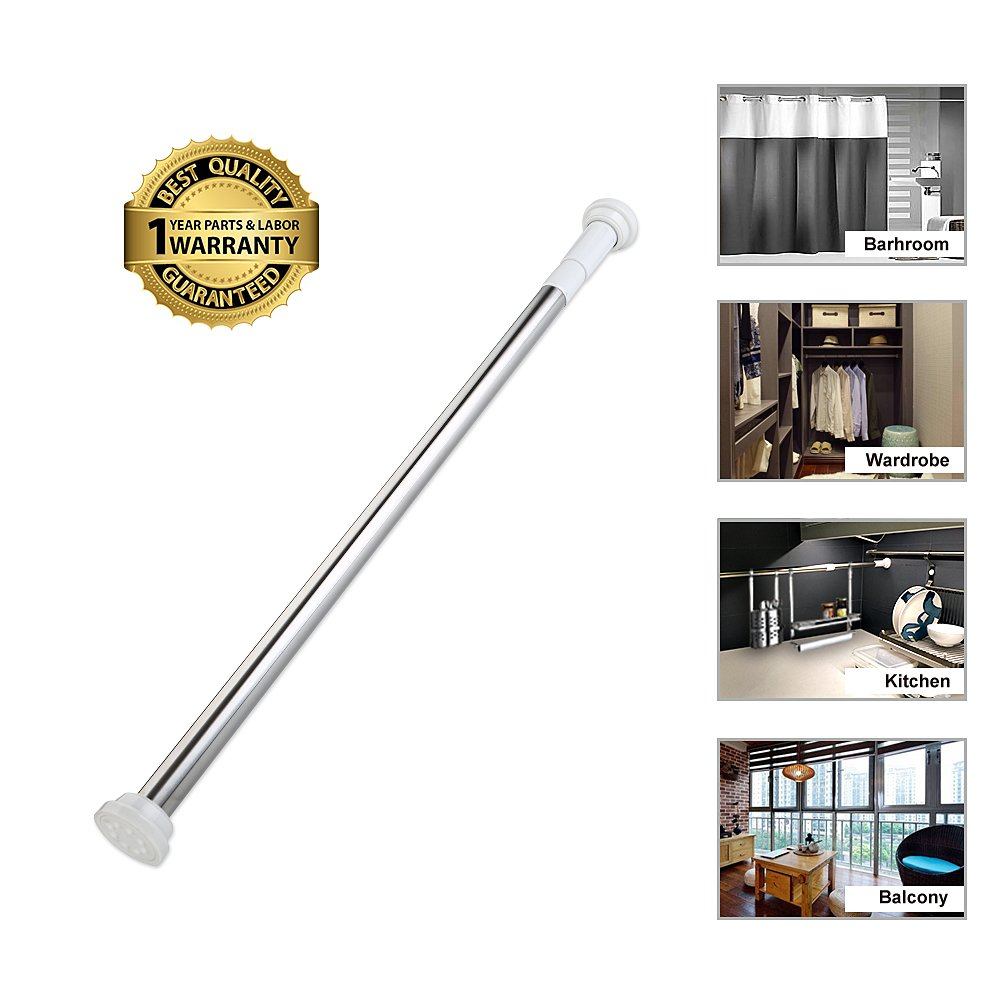 Tension Rod Curtain Shower Adjustable Rod Spring Tension Easy Installation 27inch-47inch