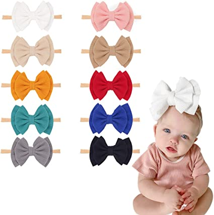 8Pcs Baby Girl Headbands DIY Custom Wide Hair Band Turban Knotted Newborn Hairband Super Soft and Stretchy big bowknot Hair Wrap for Little Girls Photo Props