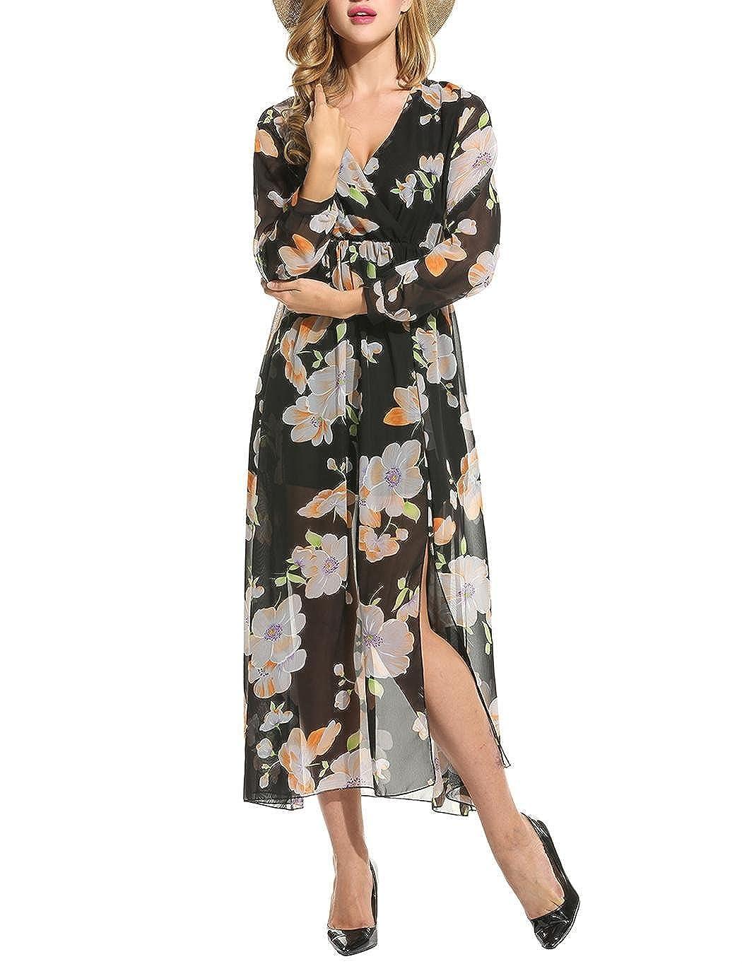 9540736a88e9 Zeagoo Women Floral Chiffon Deep V-Neck Long Sleeve Slit Wrap Long Maxi  Beach Dress A-black X-Large at Amazon Women s Clothing store