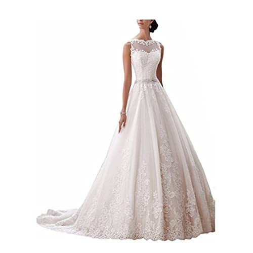 Chady Women's Latest Sleeveless Lace Appliques Wedding Dresses 2017 for Bride Ball Gown Wedding dresses