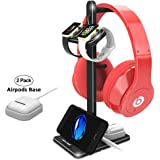 ATOPHK Double Watch Charging Stand Aluminum Charging Station Headphone Stand Holder for Airpods Smart Phone XS Max/XS/XR/X/8/8 Plus/7/7 Plus/Watch Series 4/3/2/1 (44/42/40/38 mm) Black