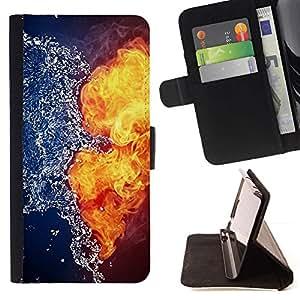 Momo Phone Case / Flip Funda de Cuero Case Cover - Agua Fuego Yin Yang Explosión Oponerse - Sony Xperia M2