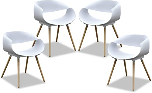 Purenity New Aesthetic Style Streamline Design Modern Dining Arm Side Chairs Set of 4 White