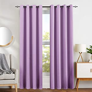 Lilac Blackout Curtains for Girls Room Darkening Thermal Insulated Living Room Curtain Panels for Bedroom Window Treatment Set, Grommet Top, 1 Pair