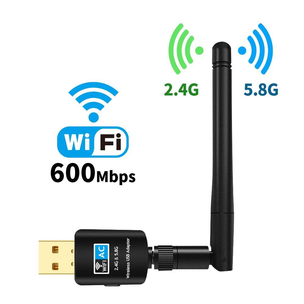 USB Wifi Adapter Antenna For Desktop, Suntrsi 2.4GHz/5GHz 433Mbps 802.11 ac/a/b/g/n USB Wireless Network Adapter for Desktop/Laptop/PC, Support Windows 10/8/7/Vista/XP/2000/Mac Os