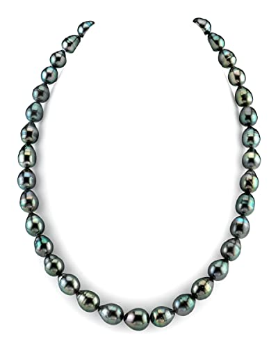 3af472f94ecba THE PEARL SOURCE 14K Gold Baroque Genuine Black Tahitian South Sea Cultured  Pearl Necklace in 17