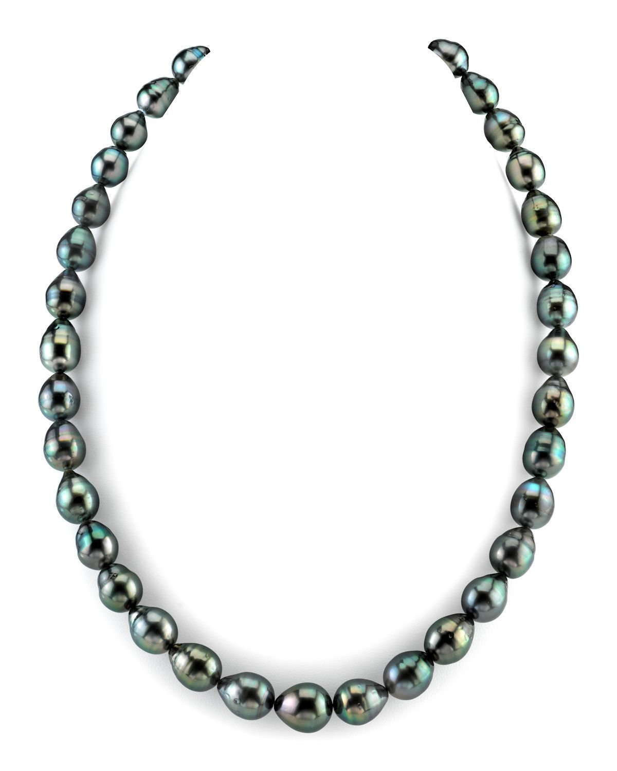 THE PEARL SOURCE 14K Gold 8-10mm Baroque Genuine Black Tahitian South Sea Cultured Pearl Necklace in 18'' Princess Length for Women