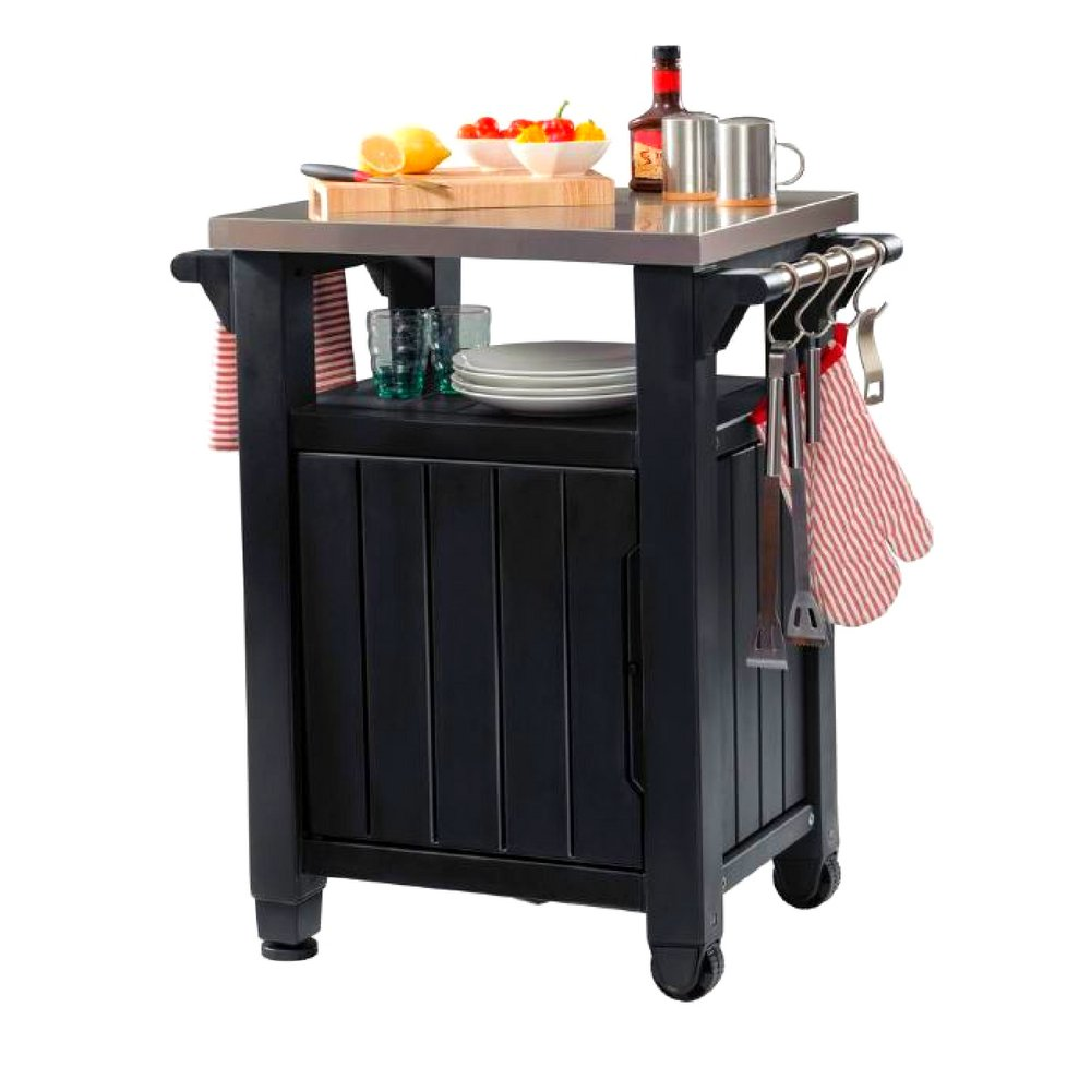Prep Island Patio Resin Graphite Serving Table Rolling Storage Bench Grill BBQ Stainless Steel Top Decorative Porch Garden Deck Indoor Kitchen Portable Modern Cart & eBook by JEFSHOP. by GHY