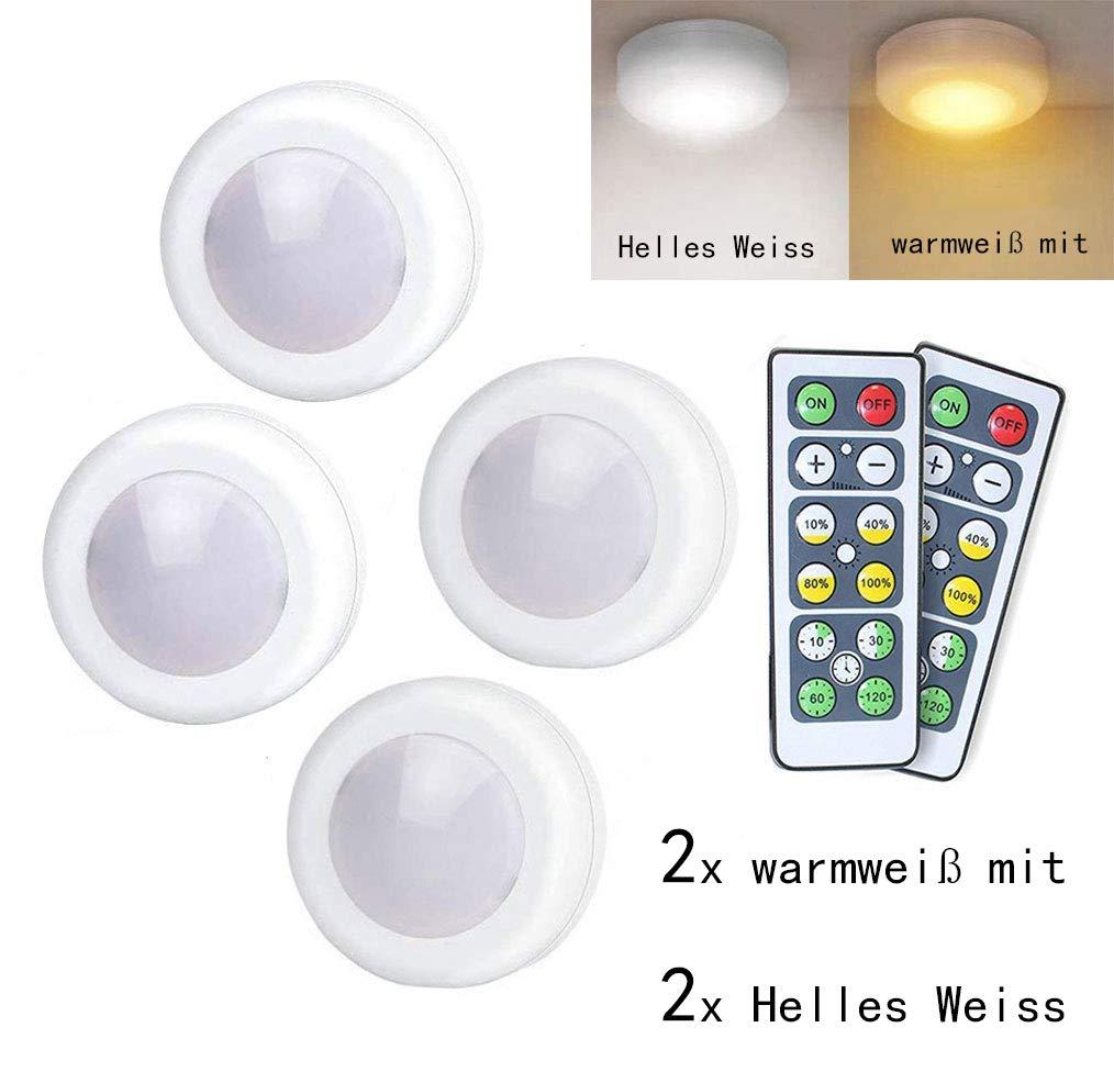 Schrankleuchten LED Nachtlicht mit Fernbedienung, Vitrinenbeleuchtung, Treppen Licht Wandbeleuchtung Schrank Lichter für Schränke, Kleiderschrank, Küche, Schlafzimmer, Treppe, Gang, Schubfach batteriebetrieben und 3M Klebend, 2 x warmweiß mit 2 x Helles We