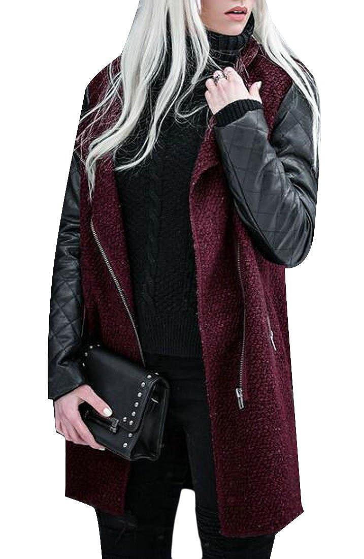 Joe Wenko Women Zip Outerwear Faux Leather Splice Fall/Winter Thick Trench Coat