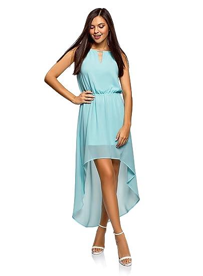 9e240b930518e oodji Ultra Femme Robe en Tissu Léger avec Bas Asymétrique