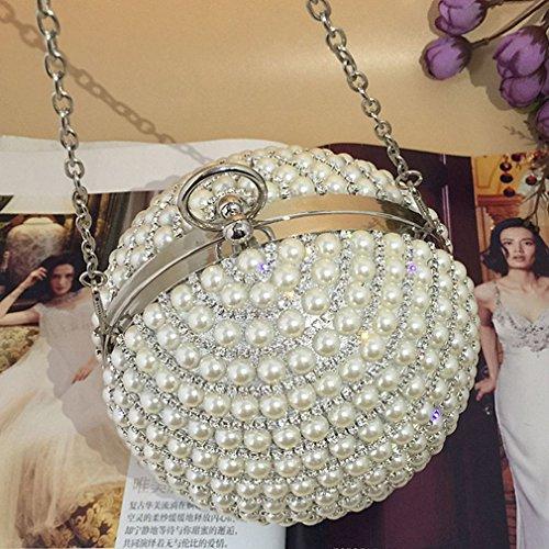 ball Bead Women's luxury Clutch Bags Evening Thenice Silver Rhinestone flash Wedding ESgHxnqwqC