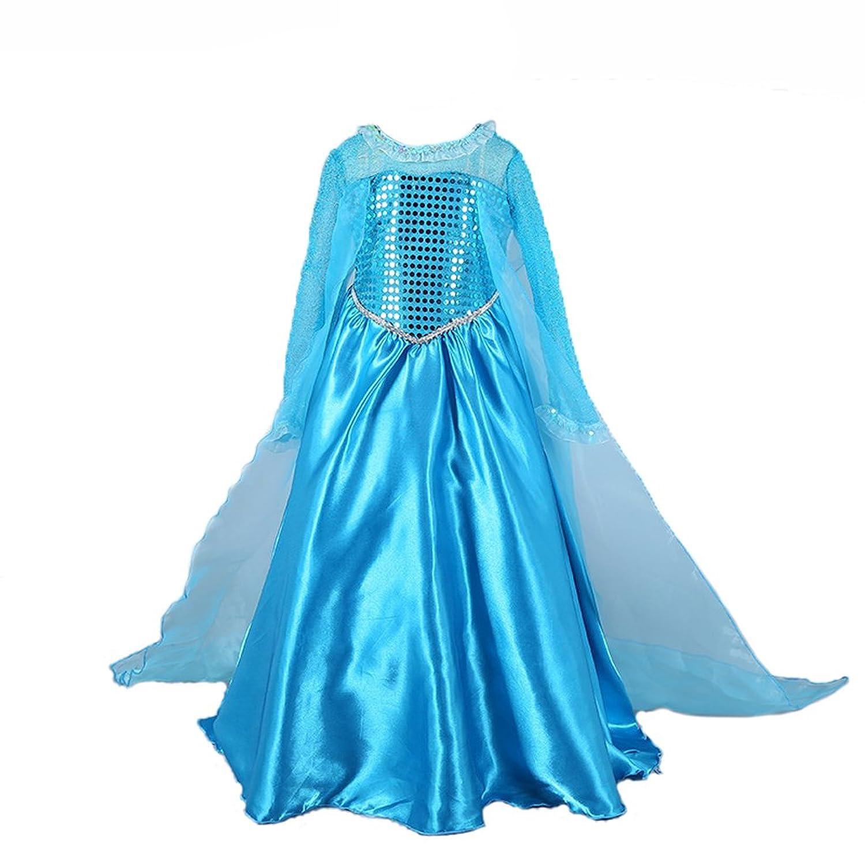 D'amelie Eiskönigin Prinzessin Kinder Kostüm Glanz Kleid Mädchen Weihnachten Verkleidung Karneval Rollenspiele Party Halloween Fest