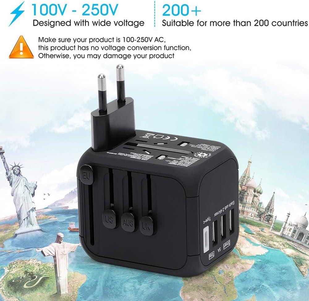 US//EU//UK//AU Adapter//Adattatore da Viaggio da1500W Fusibile di Ripristino Automatico Adatto per pi/ù di 200 Paesi REEXBON Adattatore Universale da Viaggio con 3 USB e Tipo-C Caricatore