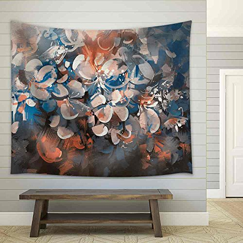Abstract Flowers Painting with Vintage Style Color Fabric Wall