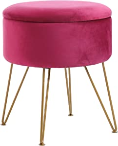 IBUYKE Storage Ottoman Chair Stool Upholstered Footrest Stool Velvet Dressing Table Seat Pouf Couch Stool Golden Steel Legs Removable Cover, (DiaxH) 39X45.5cm LG-001