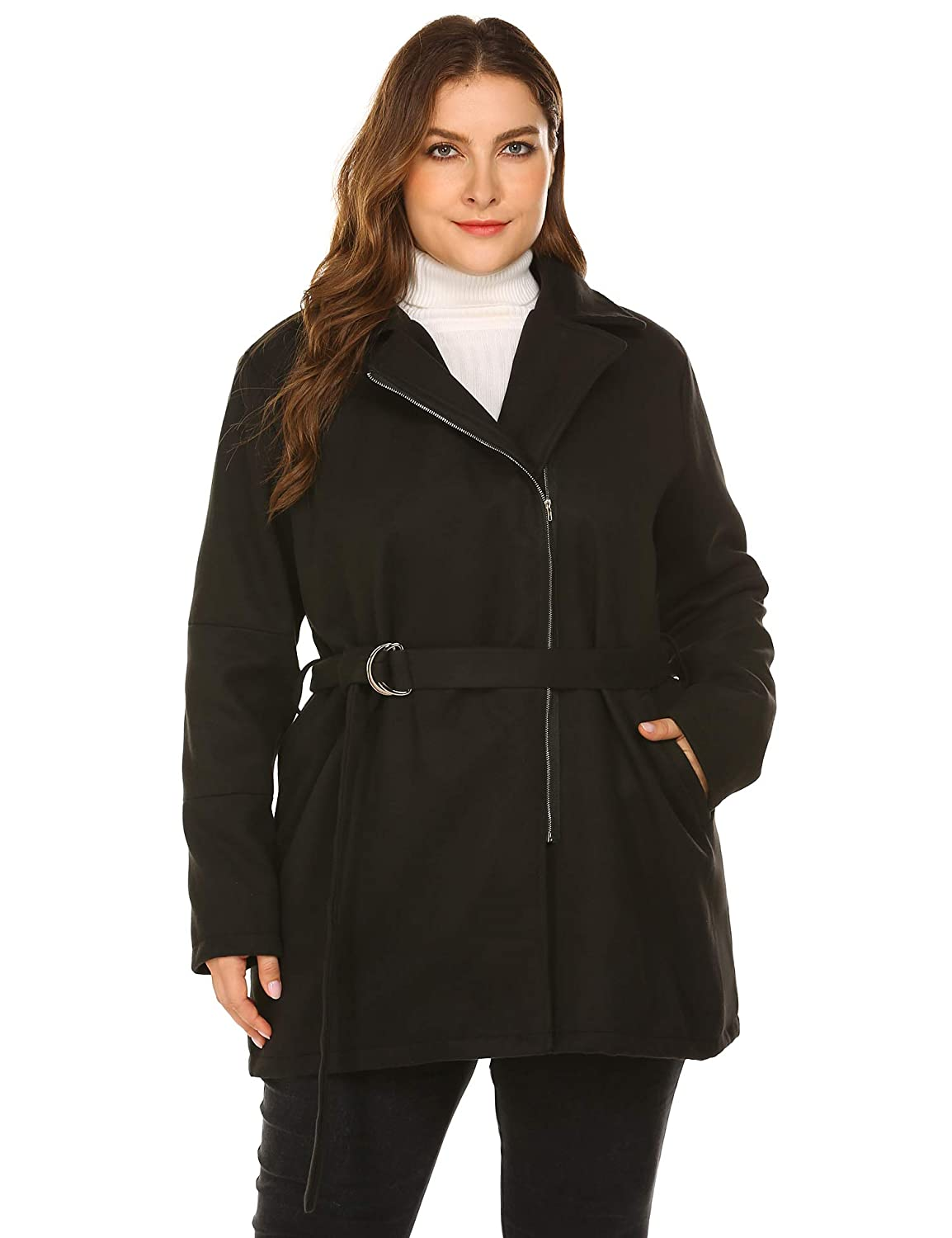 IN'VOLAND Plus Size Women Woolen Coat Zipper Jacket Lined Trench Coat with Belt (16W-22W) AMH020957