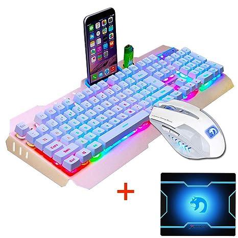 FELiCON Ratón de teclado combinado Con cable retroiluminado Teclado de metal Usb Pro Gaming 2400DPI 6