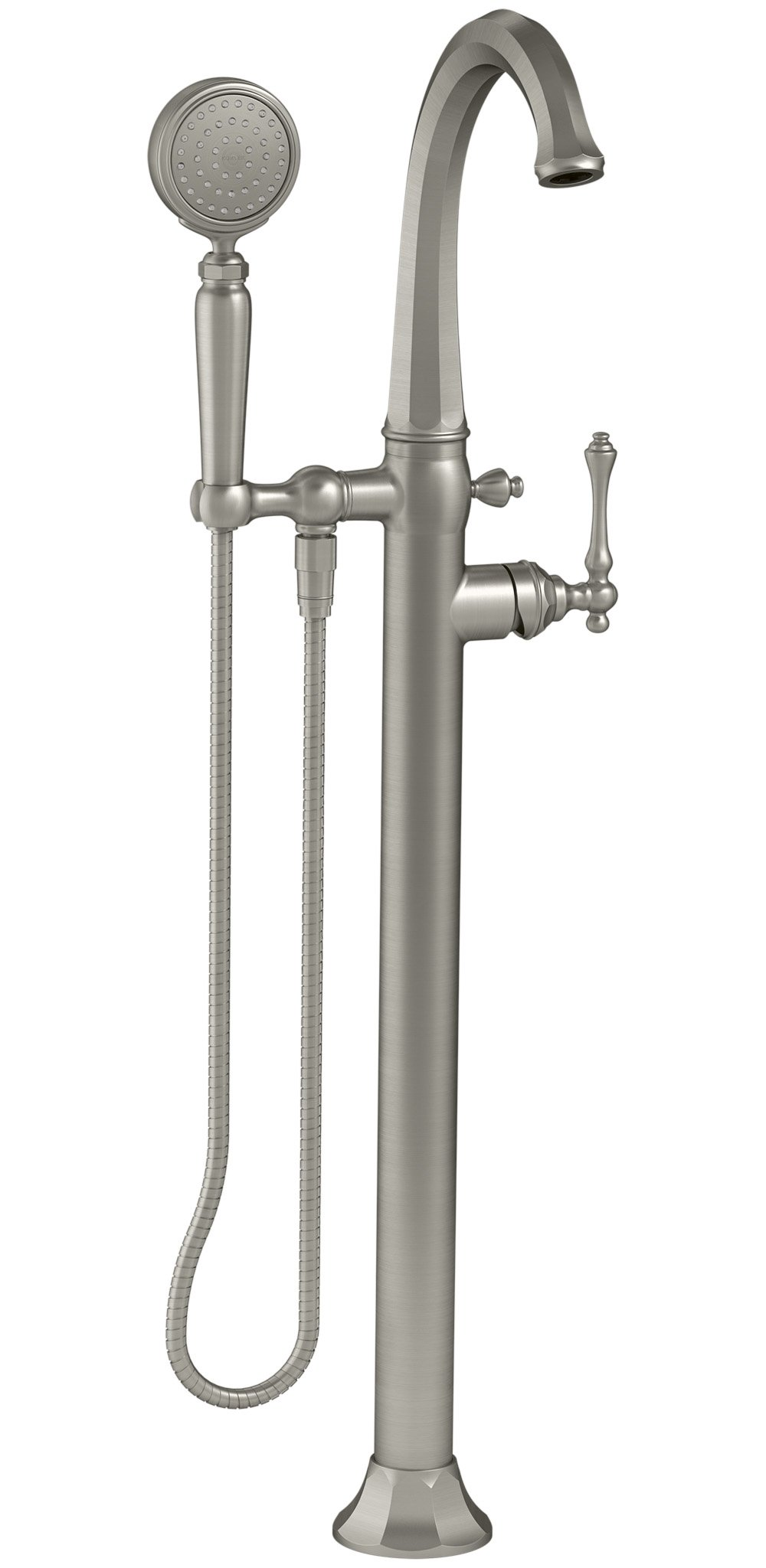 KOHLER K-T97332-4-BN Kelston Floor-Mount Bath Filler with Hand Shower, Vibrant Brushed Nickel by Kohler