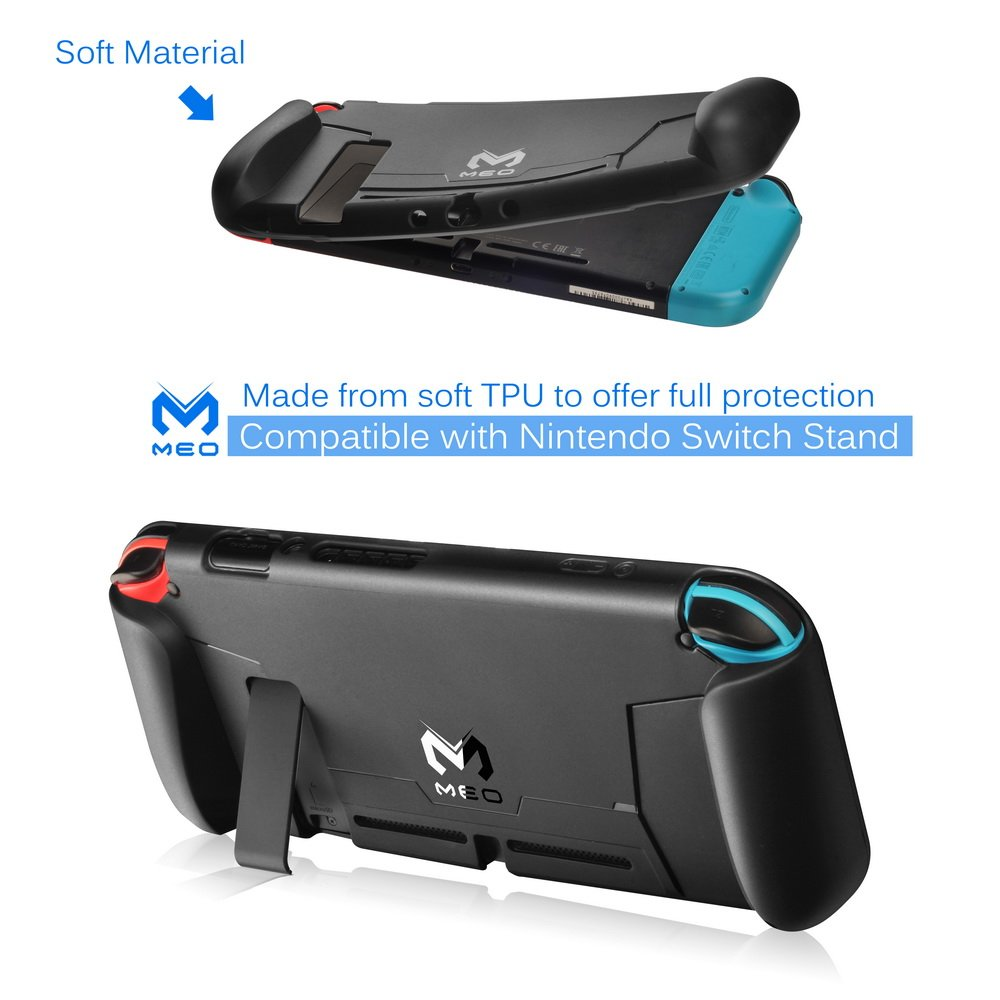 MEO Switch Case Compatible With Nintendo Switch [Stores 4 Games] Comfortable Soft TPU Grip Case with Anti-Scratch and Shock-Absorption (Black)