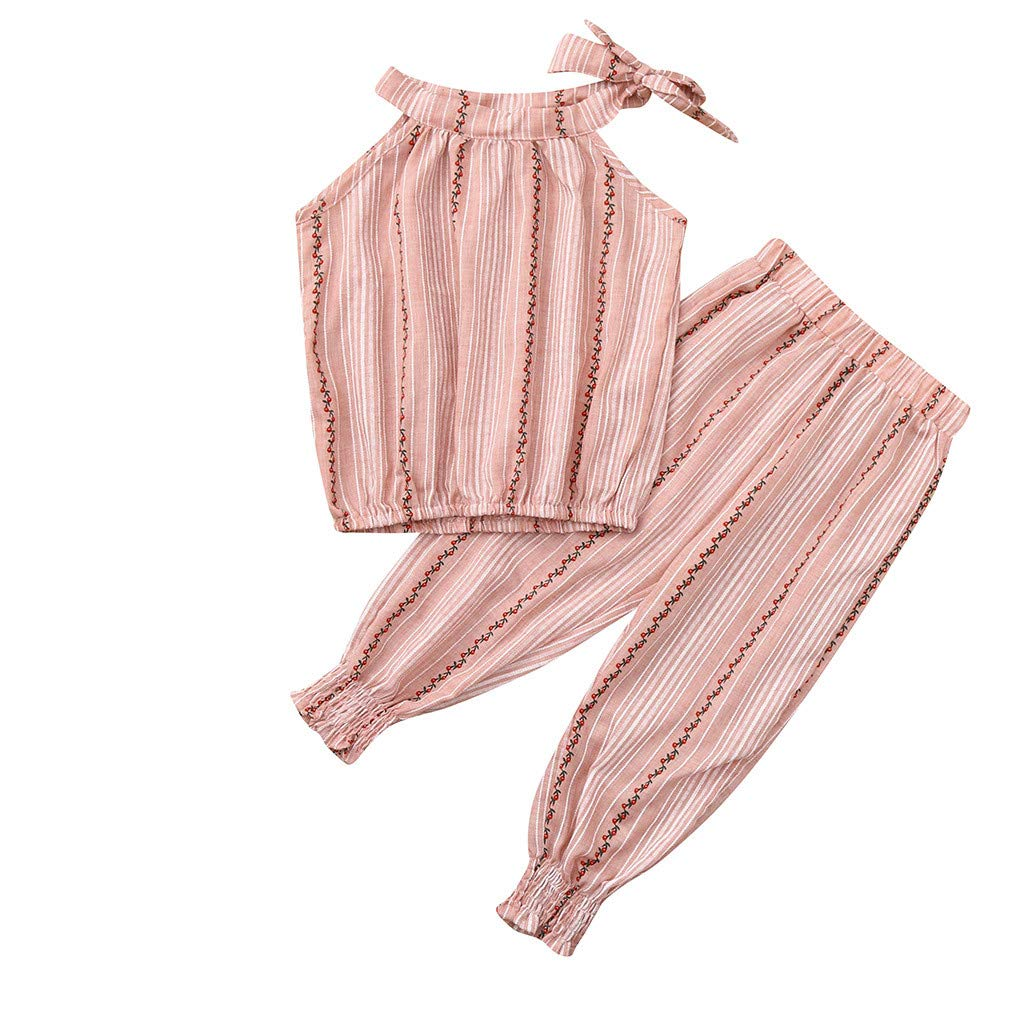 Baby Girls 2Pc Outfits, 2019 Toddler Kids Ruffled Striped Tops Striped Off-The-Shoulder Set +Shorts (2-3 Years, Pink)