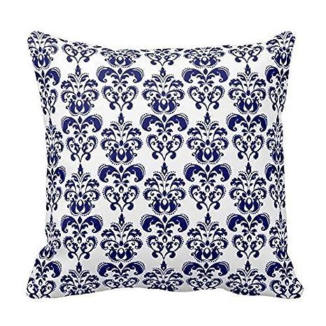 Custom decorativa fundas de cojín azul marino y blanco ...