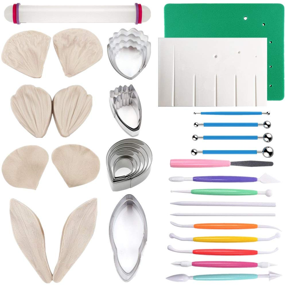 Gum Paste Flowers and Leaves Fondant Tools Kit-4set Gumpaste Flower Cutter 4set Fondant Flower Silicone Molds 1 Veining Board 1 Foam Pad 7 Modelling Tools 4 Ball Tools 1 Rolling Pin