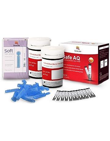 Glucosa en sangre tiras de prueba 50 + lancetas 50 para Sinocare kit de monitor de