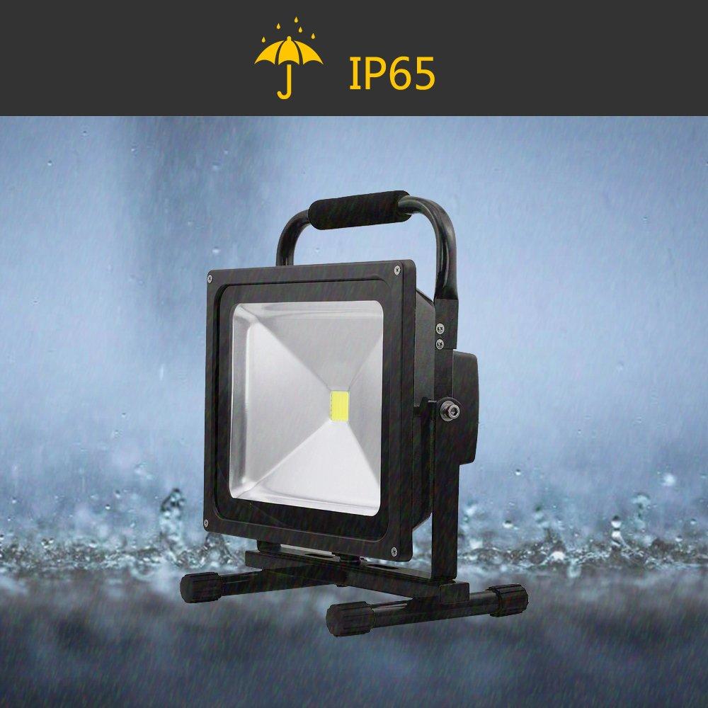 HG® LED 50W Warmweiß Akku Fluter Laternen Baustrahler IP65 Akkulampe IP65 Baustrahler Mit Stativ Für nächtliche Notreparaturen bei KFZ 3c11d6