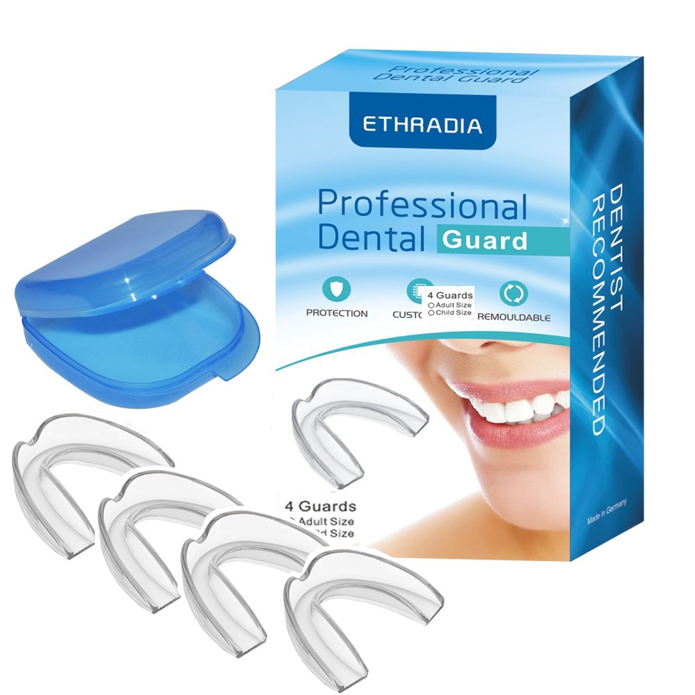 Ethradia Mouth Guard for Teeth Grinding With Mouth Guard Case, Anti Snoring Devices Teeth Grinding Night Protector tmj mouth guard For Adult,Youth Mouth guard, Kids Mouth Guard And -4 Pack (Adult)
