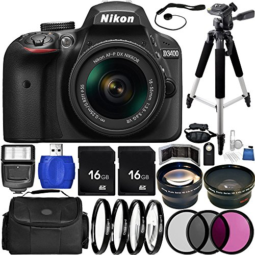 Nikon D3400 DSLR Camera (Black) Bundle with AF-P DX 18-55mm f/3.5-5.6G VR Lens, Carrying Case and Accessory Kit (29 Items)